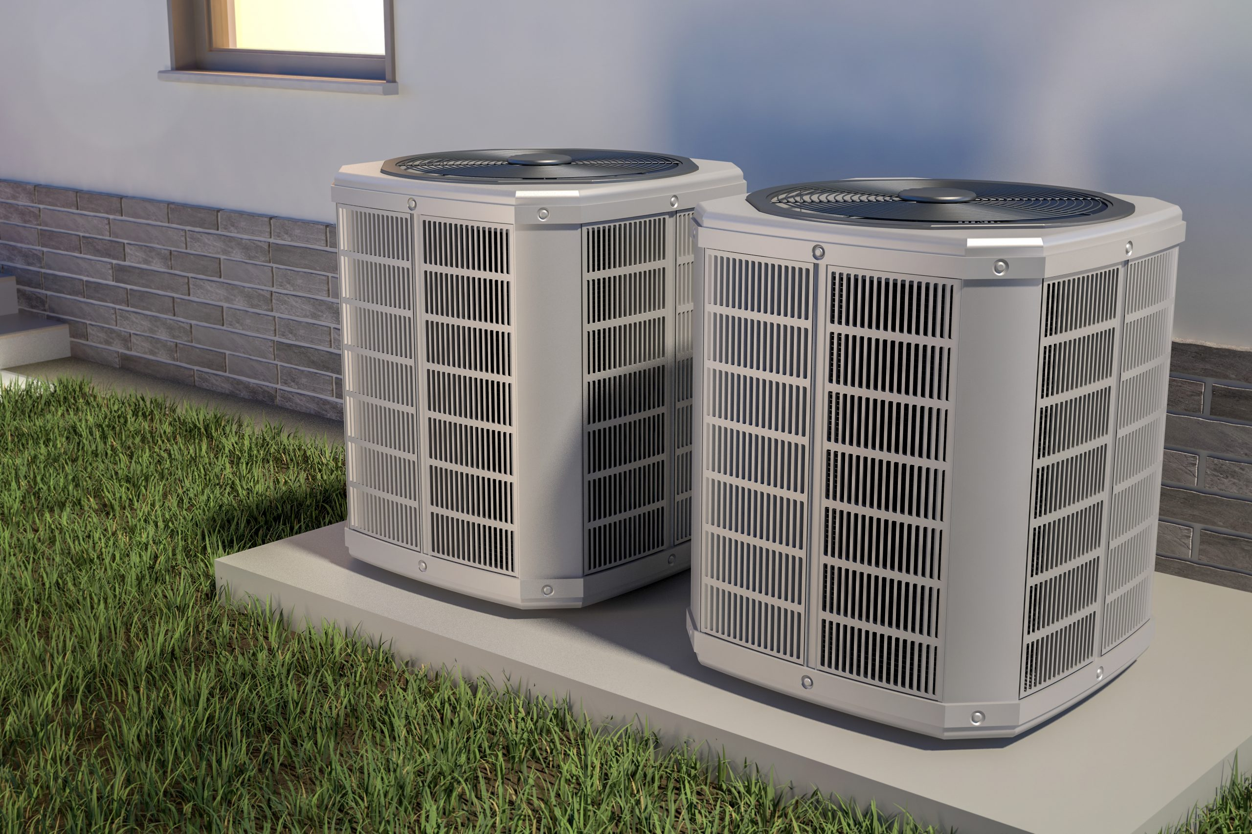 Air,Heat,Pumps,And,House,,3d,Illustration